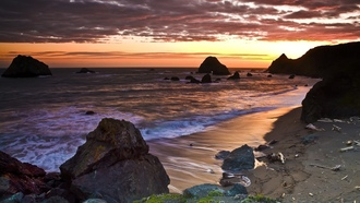 волны, USA, пейзажи, природа, rocks, landscapes, beaches, закат, sunset, море, California, США, nature, sea, пляжи, Калифорния, скалы, waves