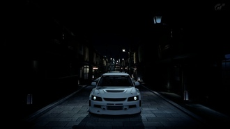 mitsubishi evolution9, ночь, тюнинг, wide, tuning, evo9, машины, widebody, игры, mitsubishi, night, япония, grantourismo5, фонари, города, gt5
