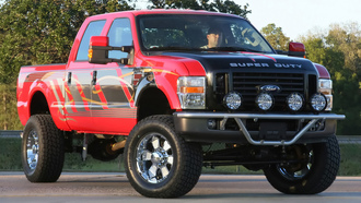 форд, duty, ford, f-250, by fabtech, красный, red, sema, super, пикап