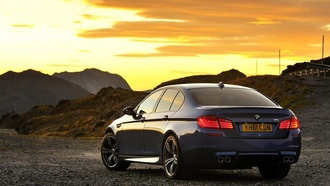 nature, sky, sun, sunset, машина, небо, закат, 2012 bmw f10 m5, car, 1920x1274, солнце, природа