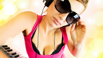 girl, dj, headphones, music