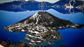 oregon, кратер вулкана, лес, озеро, горы, crater lake