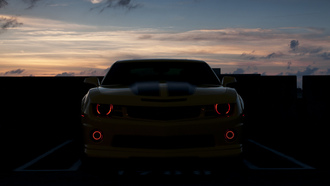 закат, chevrolet camaro, devil eyes