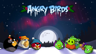 iphone, angry birds, птички, game, angry birds christmas, android, symbian, christmas