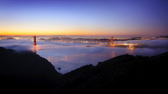 sunrise, сан-франциско, golden gate, огни, california, pacific ocean, калифорния, bridge, san francisco, night, usa, ночь