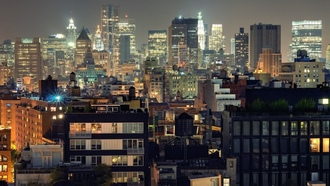 night, new york city, нью-йорк, огни, nyc, lower manhattan, usa, urban density, ночь