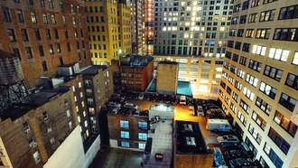 нью-йорк, night, nyc, financial district, manhattan, ночь, cars on roofs, огни, new york city