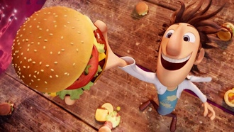 ученый, мультфильм, cloudy with a chance of meatballs, гамбургер