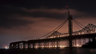 калифорния, san francisco, bay bridge, night, california