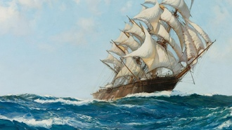клипер, montague dawson, clipper, парусник