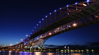 ontario, usa, bridge, blue, and, water, michigan, canada