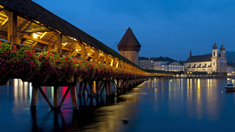 lucerne, мост, вечер, chapel bridge, огни, switzerland