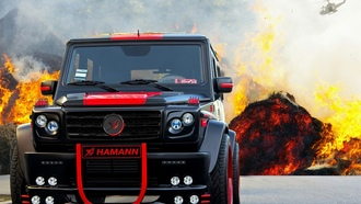 mercedes, galendwagen, black-red, fire