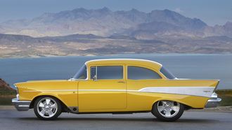 chevrolet, 1957, belair, yellow, streetrod