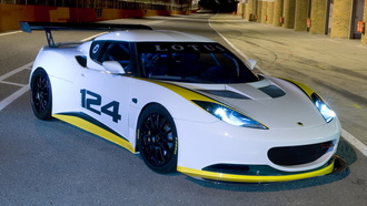 type 124, ночь, racecar, боксы, трасса, евора, передняя часть, lotus, лотус, endurance, evora, night
