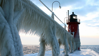lighthouse.frozen, sea, sky, ice