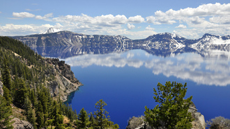 crater lake, лес, горы, озеро, природа, oregon