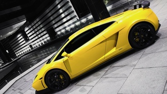 желтая, lamborghini, yellow, ламбо, car