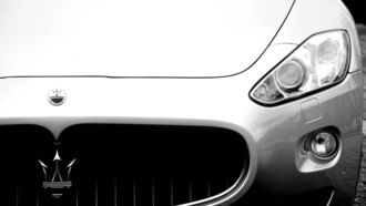 эмблема, auto, перед, front, фары, cars, granturismo, maserati, wallpapers, чб