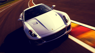 white, 599 gtb, track, speed, ferrari