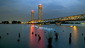 sacramento, огни, ночь, river, bridge, night, река, california, drawbridge at rio vista, калифорния
