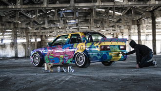 bmw, E30, factory, georgia, xojava, graffit, building, painting, back