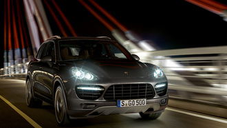 porsche, cayenne turbo, night