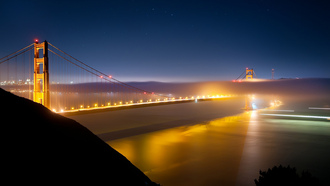 san francisco, usa, california, огни, night, ночь, сан-франциско, калифорния, pacific ocean, golden gate bridge
