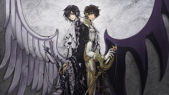 lelouch lamperouge, код гиас, suzaku kururugi, аниме, крылья, clamp, code geass, knights, лелуш, dark and white, anime, меч