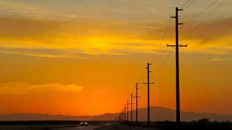 usa, sunset, power lines, california, закат, калифорния
