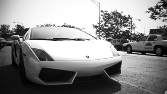 auto, city, чб, lamborghini gallardo, cars, lp560 4, фото, движение, wallpapers, город