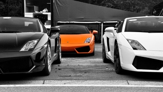 wallpapers, cars, cars wall, lamborghini gallardo, orange, авто, auto, wallper, обои авто, фото, чб