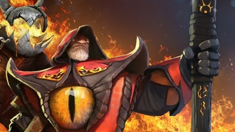 warlock, fire, арт, golem, art, игра, dota2, valve, game, глаз, огонь, 2666x1080, eye, defence of the ancients