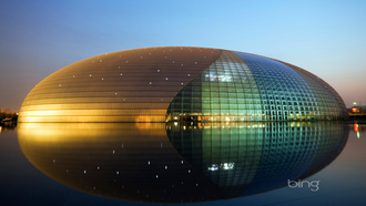 beijing national grand theater, ночь, театр, beijing, tiananmen, архитектура, огни, china, китай