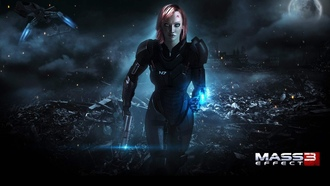 шепард, shepard, бежит, игра, женщина, female, mass effect 3, будущее
