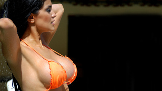 latin, orange, bikini, breast, girl
