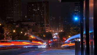 калифорния, california, market at guerrero street, огни, san francisco, usa, ночь, night, traffic trails