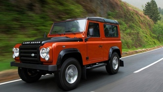 скорость, defender, land rover, автомобиль, дорога, 90