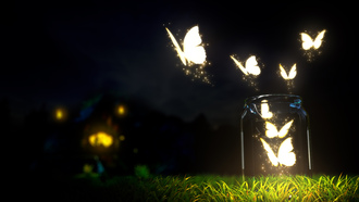 macro, bottle, ground, night, grass, blur, butterflies, nature, glowing, beautiful, dark sky