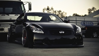 car, low&slow, tuning, black, infiniti, wallpapers, g37, stance, черная