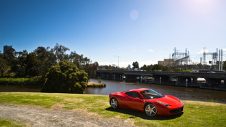 red, феррари, trees, ferrari, bridge, 458 italia, красный, италия