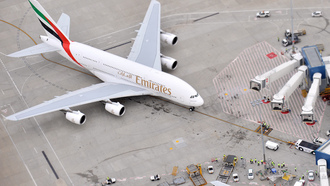 emirates airline, самолет, a380, авиалайнер, airbus, пассажирский