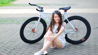 cute girl, bcycle