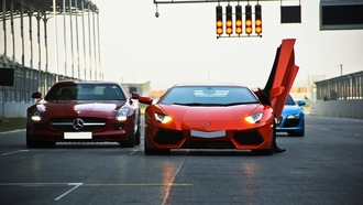 aventador, sls amg, mercedes-benz, lp700-4, orange, r8, audi, red, blue, lamborghini
