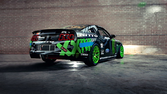 monster energy, team, mustang, black, sportcar, ford, competition, drift, vaughn gittin jr, rtr