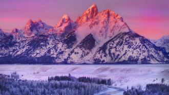 alpenglow on grand teton - snake river overlook, wyoming, горы, grand teton national park