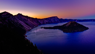 озеро, usa, crater lake, oregon, закат, горы, остров
