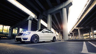 c63, bridge, white, mercedes-benz, tuning, power, street, sedan, wheels, amg, road, mercedes