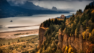 осень, горы, columbia river gorge, the overlook, лес, река
