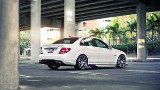 palm, amg, power, bridge, street, white, sedan, mercedes, tuning, wheels, mercedes-benz, road, c63